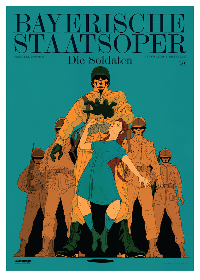 Premiereposter for the National Opera of Munich / Bayerische Staatsoper for Die Soldaten. Graphic design by Bureau Mirko Borsche