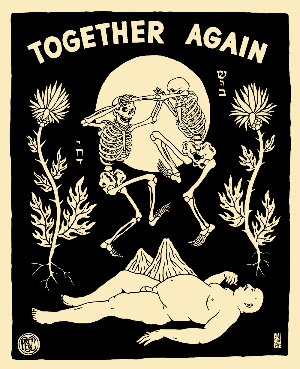 Unga (Broken Fingaz) - 'Together Again' - Acrylic on vintage paper
