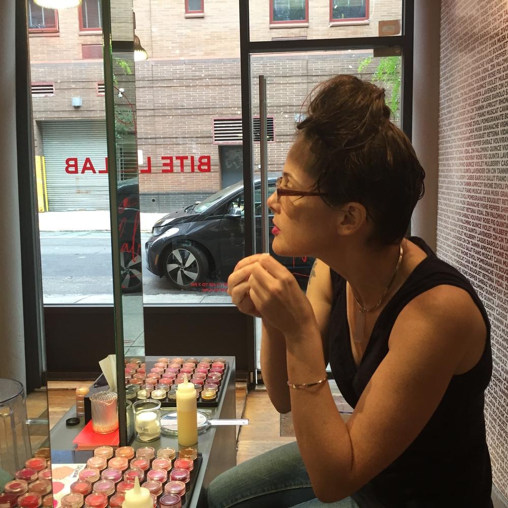 K. checks out her custom shade at the Bite Lib Lab.