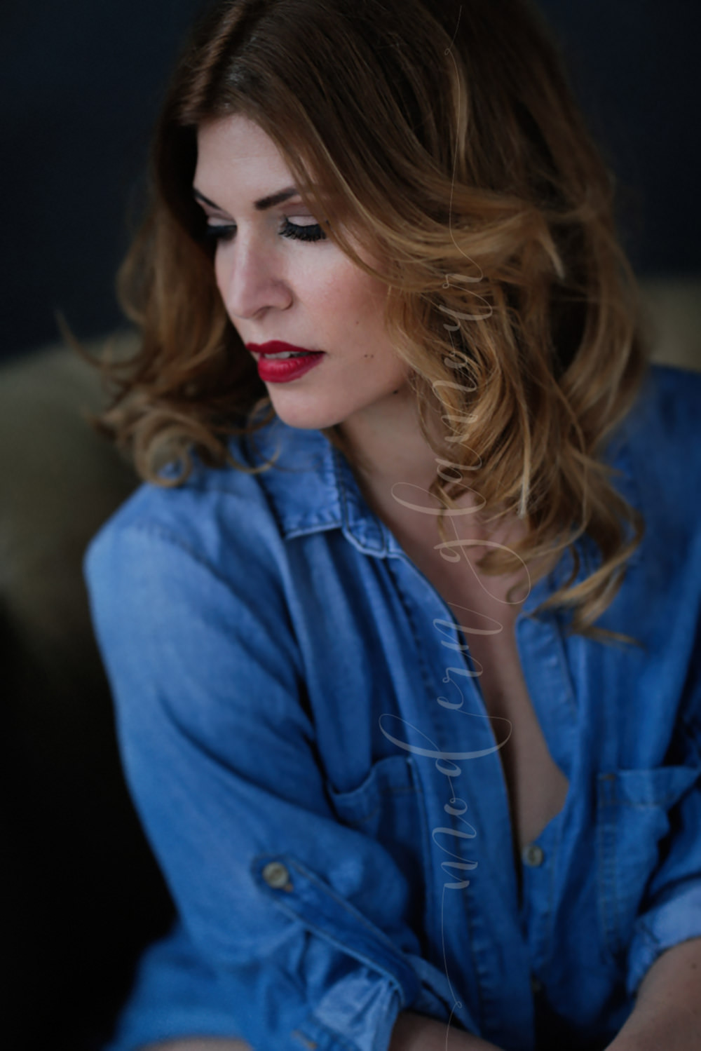 sensual red lip in contrast with casual denim shirt boudoir photography boston