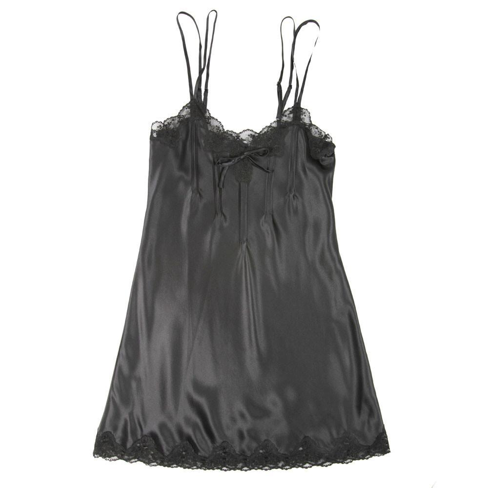 Ginia Pintuck Silk Chemise in Black