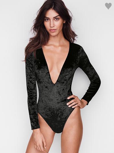 VS Crushed Velvet Plunge Bodysuit in Black