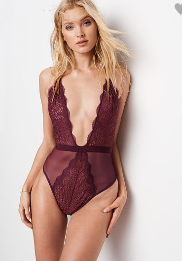 VS Lace & Mesh Plunge Teddy