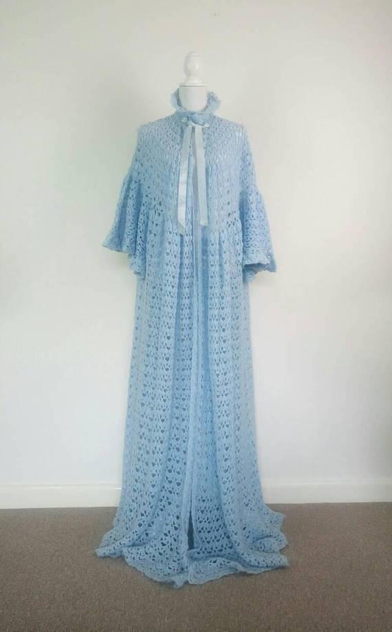 floor length wool crochet dressing gown!