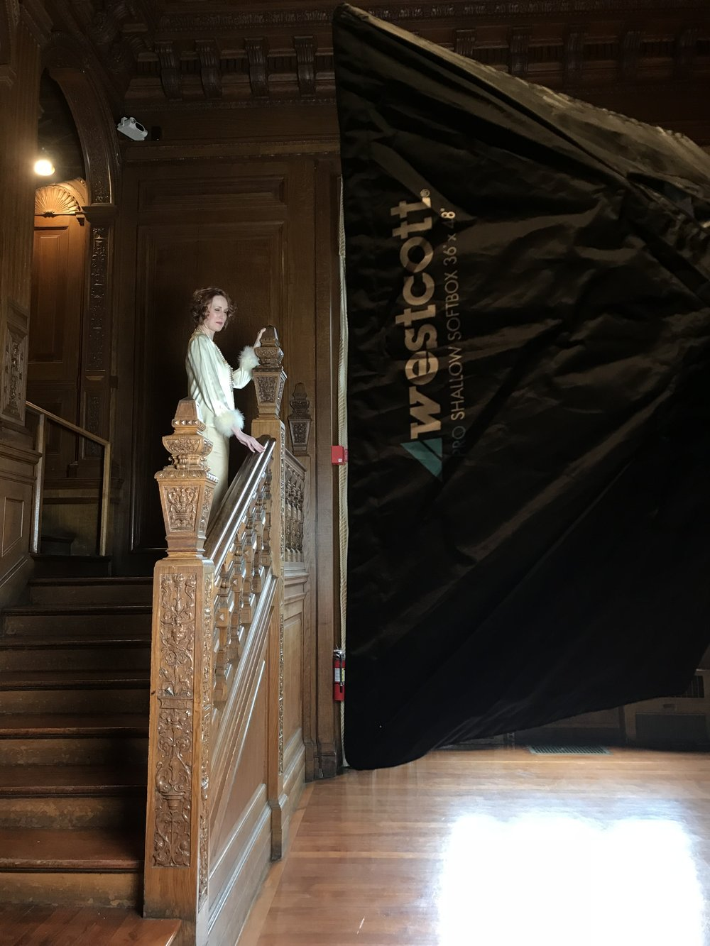 vintage style location bridal shoot boston photographer staircase