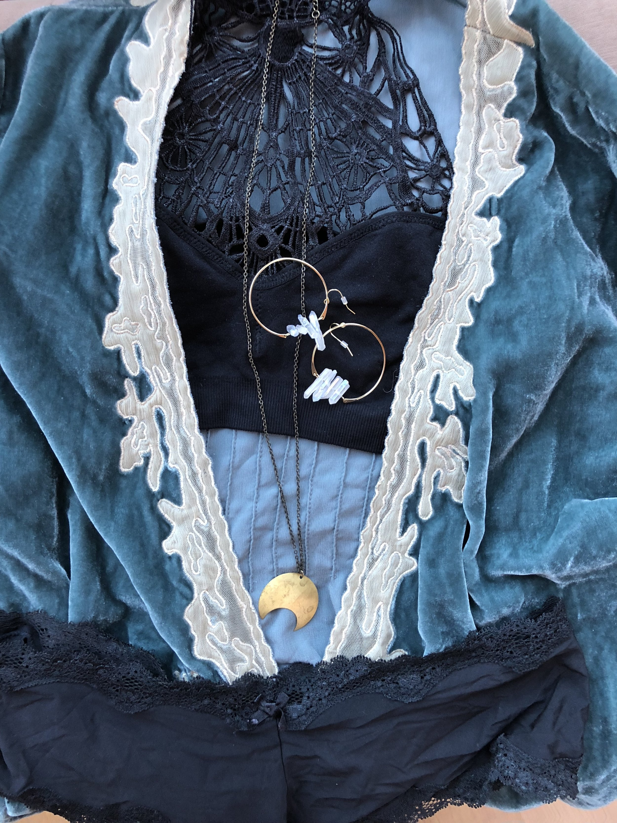 boston boudoir photos lingerie eclectic bohemian style vintage and new black lace blue velvet moon necklace crystal earrings