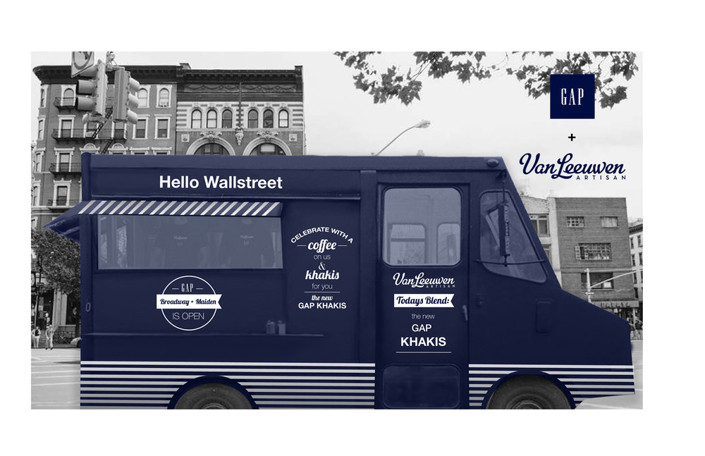 Design for Gap + Von Leeuwin ice cream truck for grand opening of Gap store on Broadway, NYC