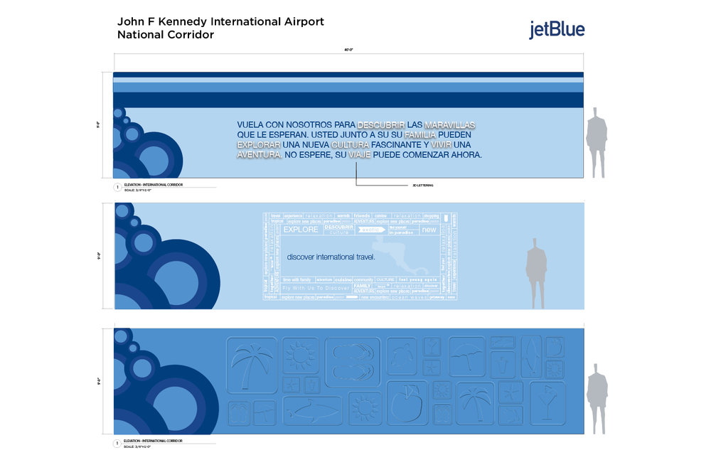 National and International corridor design for Jet blue at JFK Airport, NYC