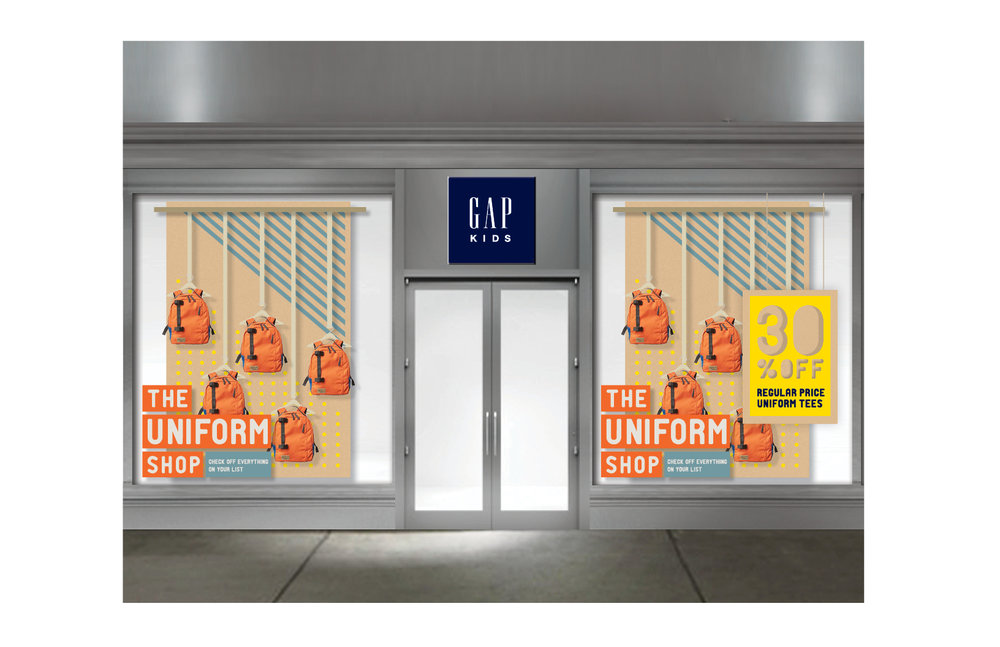 Windows and In store display for Gap
