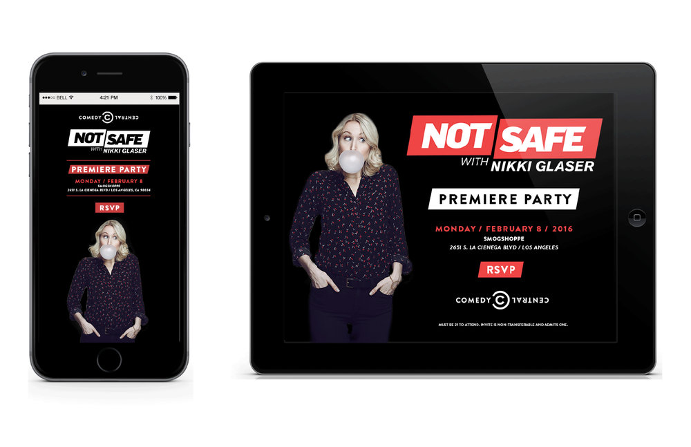 Digital Evites for Comedy Central's Not Safe With Nikki Glaser Premiere