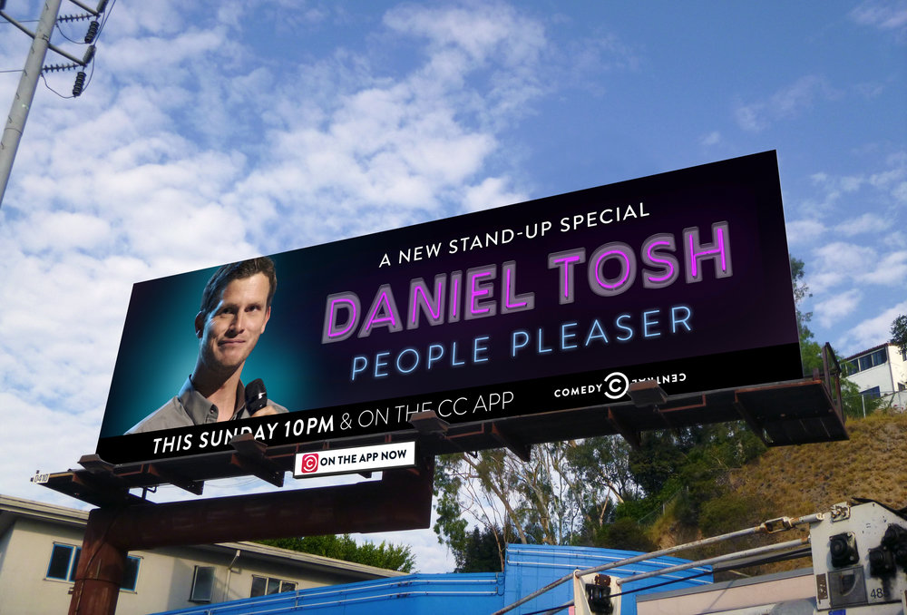 Billboard and logo design for Daniel Tosh Comed Central special, Los Angeles