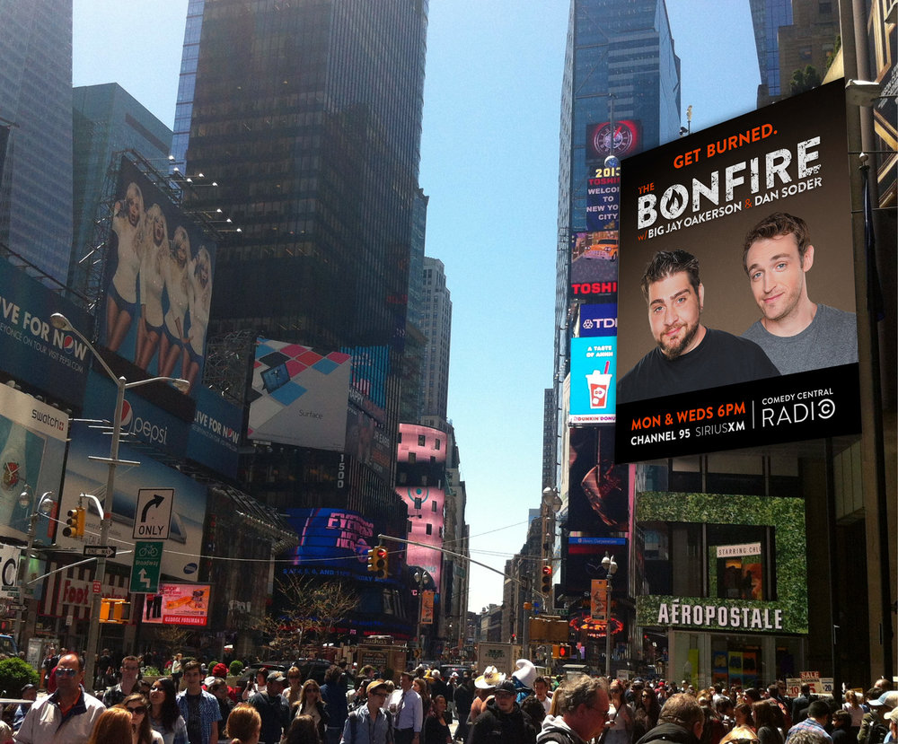 Billboard and logo design for Comedy Central's The Bonfire podcast. Times Square, NYC