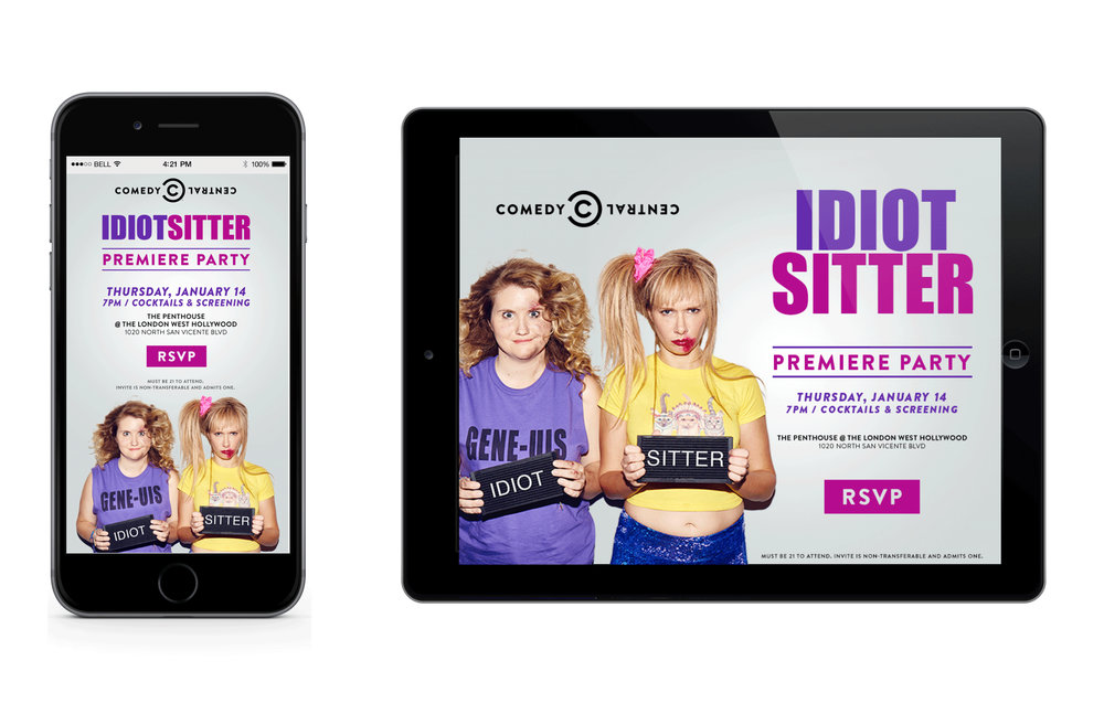 Digital Evites for Comedy Central's Idiot Sitter Premiere