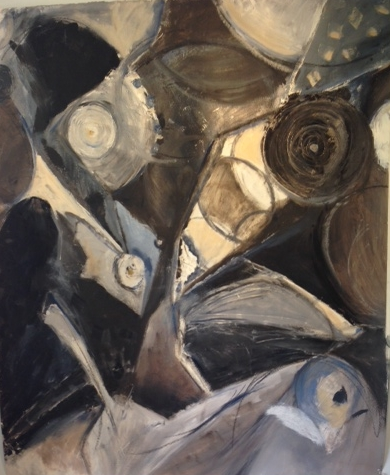 One of the abstract paintings unearthed while stumbling through my messy studio recently...