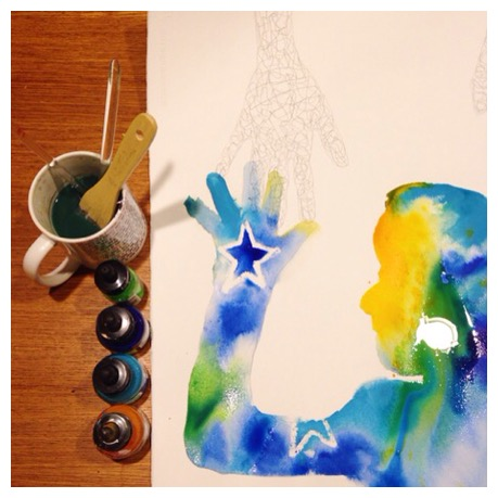 A pic from last night's day 82 of #100DaysofTracingMyHands, my current daily creative project.