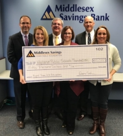 THANK YOU, Middlesex Savings Bank! - This $50K gift will be used to fund grants to benefit all five Wayland Public Schools.From left to right:Mike Kuza, Assistant Vice President, Community Relations and Foundation Officer, Middlesex Savings Bank, Bryan Christensen, Senior Vice President and Director of Community Banking, Middlesex Savings Bank, Mike McAuliffe, President and CEO of Middlesex Savings Bank, Angela Malkin, WPSF Vice President, Nicole Spiewak, WPSF Marketing, Liza Knapp, WPSF President at the