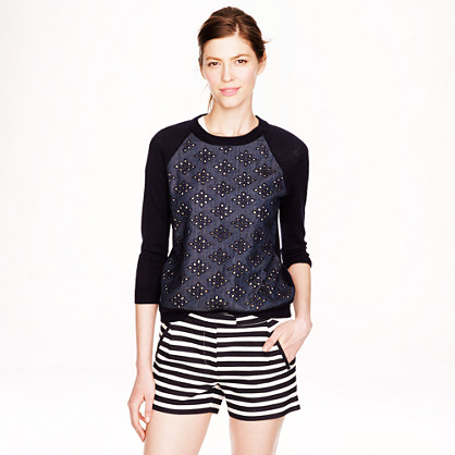 j.crew Textured Stripe Short in Navy, $65.00