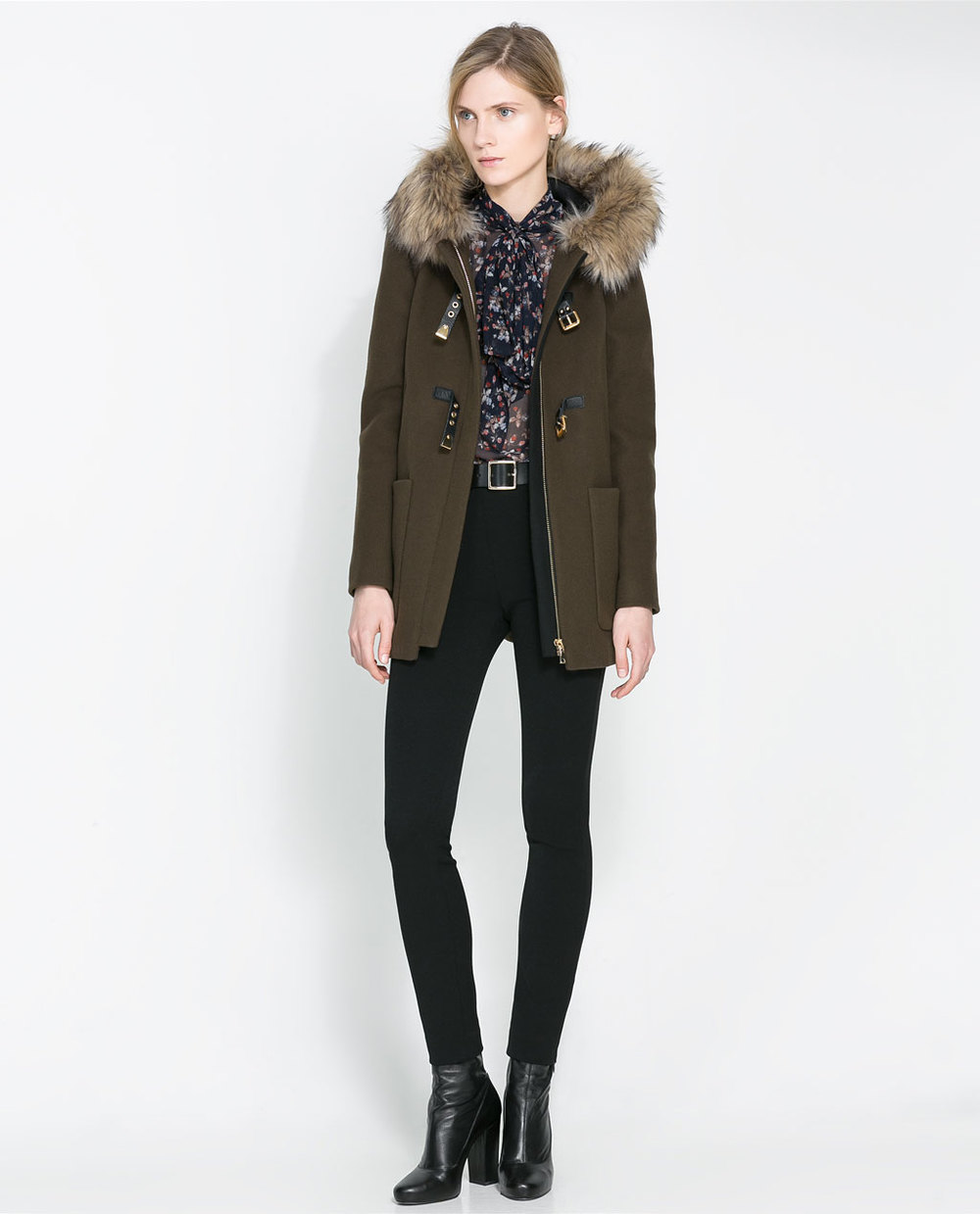 Zara Duffle Coat with Fur Trimmed Hood
