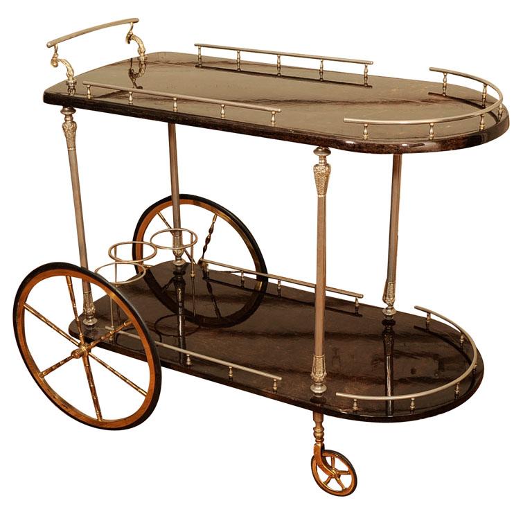 Lacquered Goatskin Bar Cart By Aldo Tura