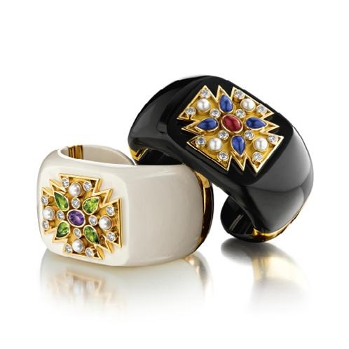 Chanel Maltese Cross cuff bracelets from Verdura.