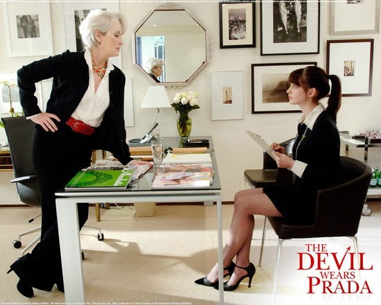 The clarity and refined taste of this black and white office is a perfect outward reflection of the Miranda character from The Devil Wears Prada.