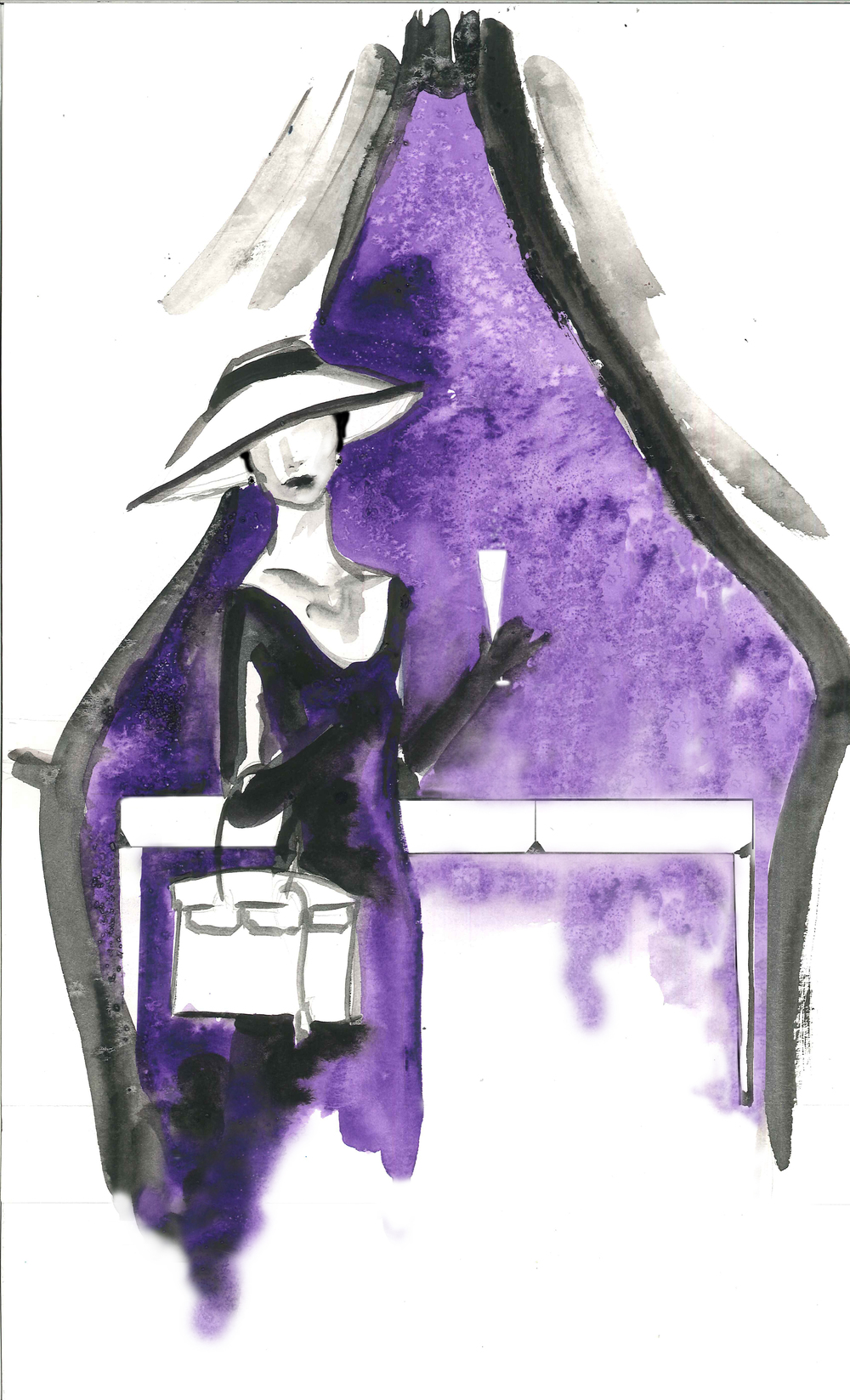 An elegant fashion illustration by my fabulously talented friend, Isolde Uecker for my Gary Inman Home Couture debut collection.