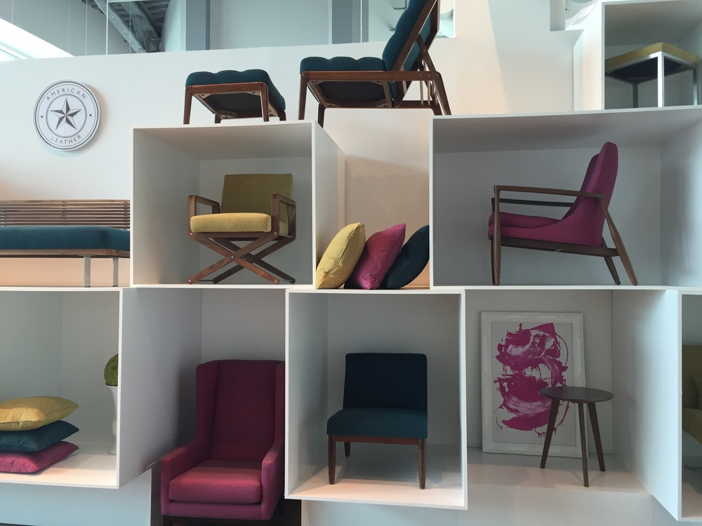 Thinking Inside the Box with a Stunning Array of perfected forms. American Leather showroom at the High Point Market, April 2015.