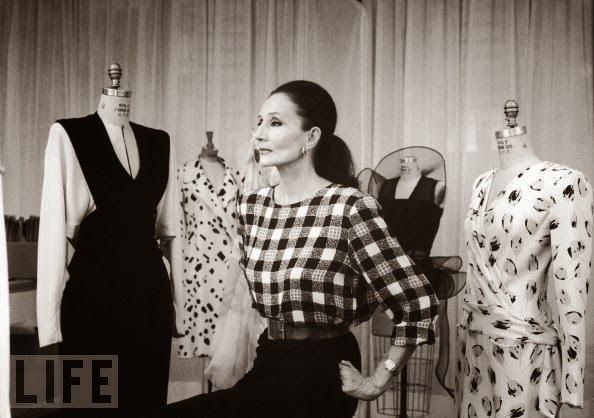 Jacqueline with her fashion creations. Winner of the 1985 Rodeo Drive Award.