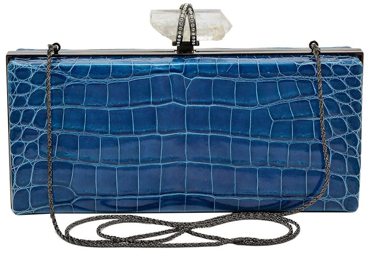 Marchesa Simonella Crocodile and Rock Crystal Clutch