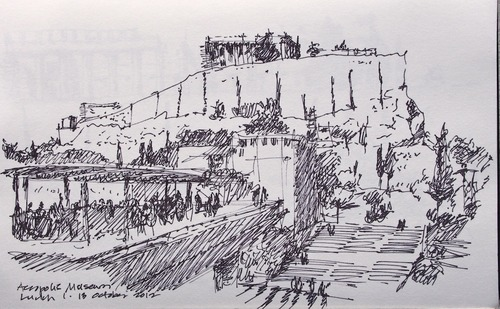Le Corbusier's Sketch of The Acropolis, Athens, Greece