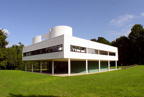 Villa Savoye, 1928-28, Poissy, France. The house appears to float above the landscape on the thin pilotis (columns).