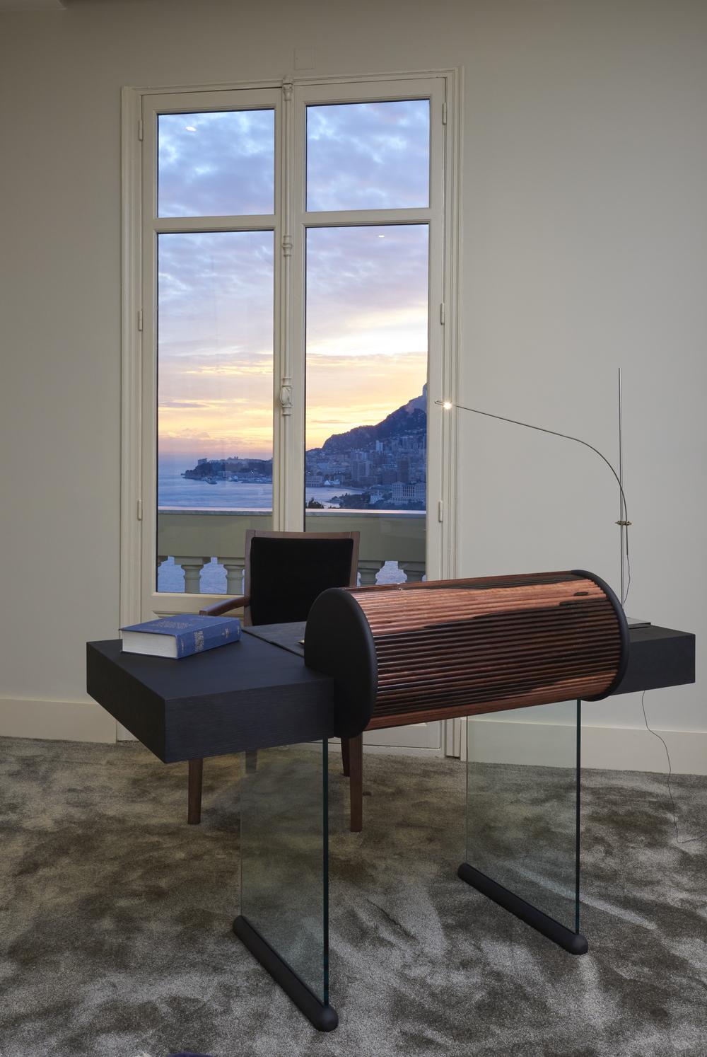 Garbarino's Unique desk features a Tambour Cylinder
