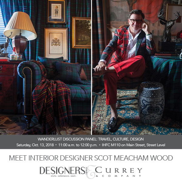 Mr. Tartan Scot himself, a Southern Gentleman with Deep Scottish Roots who grew up in the Far East. Learn more about Scott at www.SMWHome.com You're fall in love with his beautifully tailored interiors, fabrics, and furniture. And don't miss his rugs at Nourison if you're in High Point. Scott's fabrics are a personal favorite.