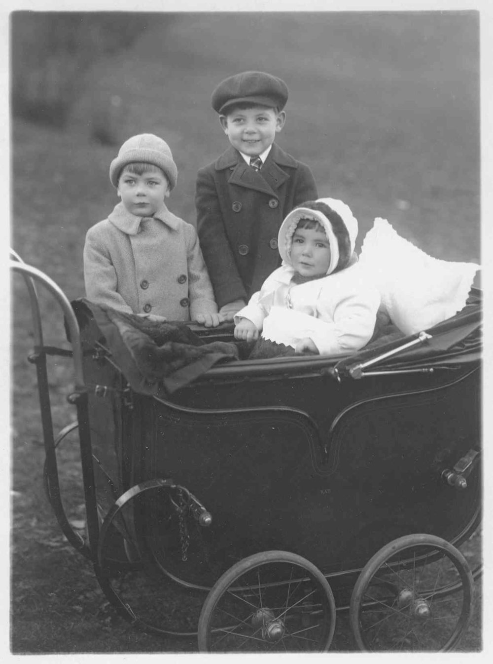 Young Edward flanked by his brother Billy and his sister Barbara, in New York City's Central Park in 1929, just after the onset of The Great Depression.