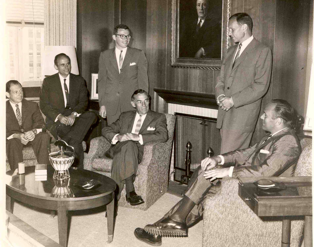 Destiny ordained that Edward would join his cousins to lead Tishman Construction, the company founded by his grandfather, Julius Tishman, in 1898. Tishman Construction would grow to be one of the largest construction companies in the world, building the tallest skyscrapers in America and Europe. Shown left to right are Edward, John, Peter, Norman (seated), Bob, and Alan in the executive offices of 666 Fifth Avenue. The Tishman building remains a wonderful example of mid-century modern design.