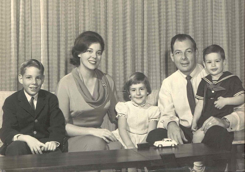 After the war years Edward and Jan created their family including Douglas (left), Leslie, and Andrew on his father's lap. They were devoted parents and never lost their interest in every detail of their children's and grandchildren's lives.