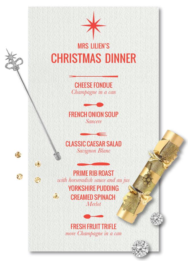 mrs lilien s christmas dinner menu mrs lilien