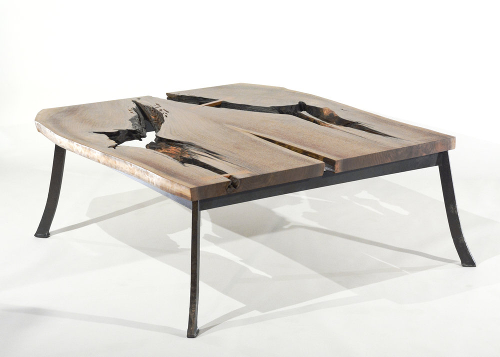 Live Edge Wood Coffee Table - Scissor Slab