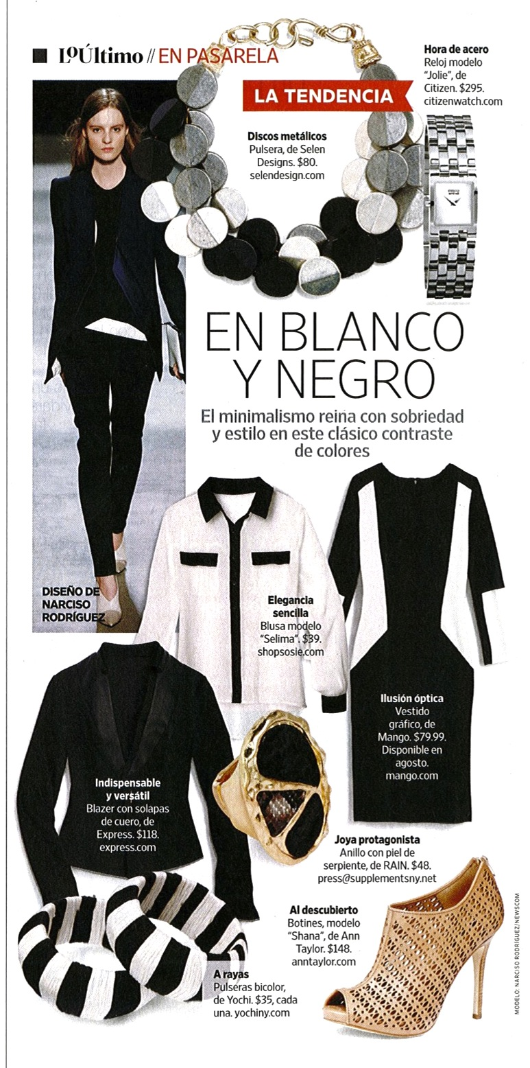 Our  Black Fiesta Bracele t is getting some press! People En Espanol Magazine - August issue -Page 70.  You can buy the Black Fiesta Bracelet on our Blog.   http://selendesign.com/black-silver-fiesta-bracelet