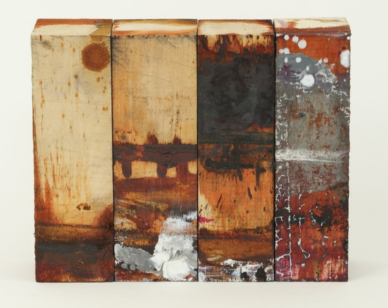 There is something in us that keeps us where we find ourselves   Oil and graphite on wood  approximately 6 x 7 x 2 inches