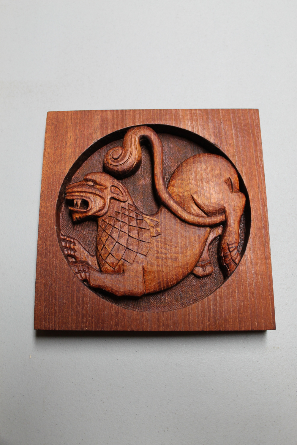 Intaglio Dragon-Lion Chimera In Spanish Cedar