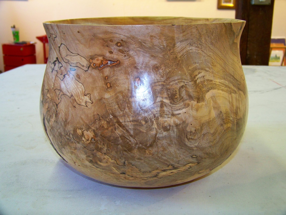 Turned Bowl In Spalted Ambrosia Maple