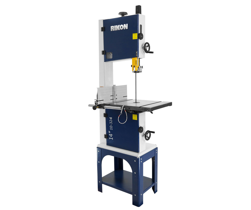 "Rikon 10-324 Open Stand 14"" Bandsaw  14"" Bandsaw which provides woodworkers with a full 13-5/8"" wide and 13"" high cutting capacity at an entry level price. The 1-1/2 HP, 115/230 dual volt motor, with two blade speeds of 2,950 or 1,445 ft/min, provides ample power for standard cutting and re-sawing of all types of woods, or for working with a variety of other materials such as non-ferrous metal, plastics, composites or foam.   $799.99"