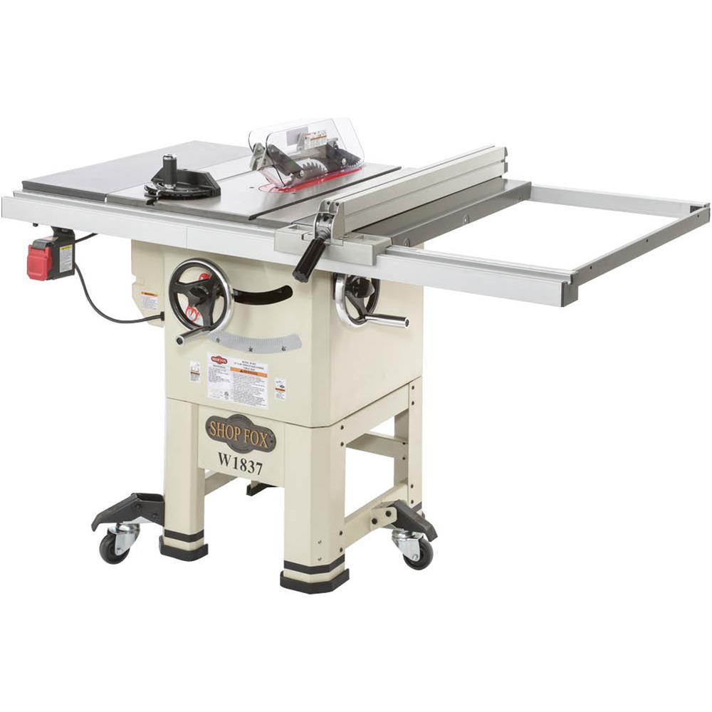 Shop Fox W1837 Open Stand Hybrid  A feature-packed Table Saw for shop owners who don't need all the heft and horsepower (and extra cost) of a true cabinet saw. This Hybrid Table Saw features cabinet-mounted trunnions and an enclosed steel upper-stand for maximum dust containment. Despite its hybrid design, cutting capacities stand toe-to-toe with the most expensive cabinet saws in the market and the interchangeable riving knife offers protection for non-through cutting operations that require removal of the blade guard. Also features a serpentine belt and pulley system for smooth and quiet operation with better power transfer than a standard V-belt drive system. This saw is sure to be the envy at any shop or worksite.   $849.99