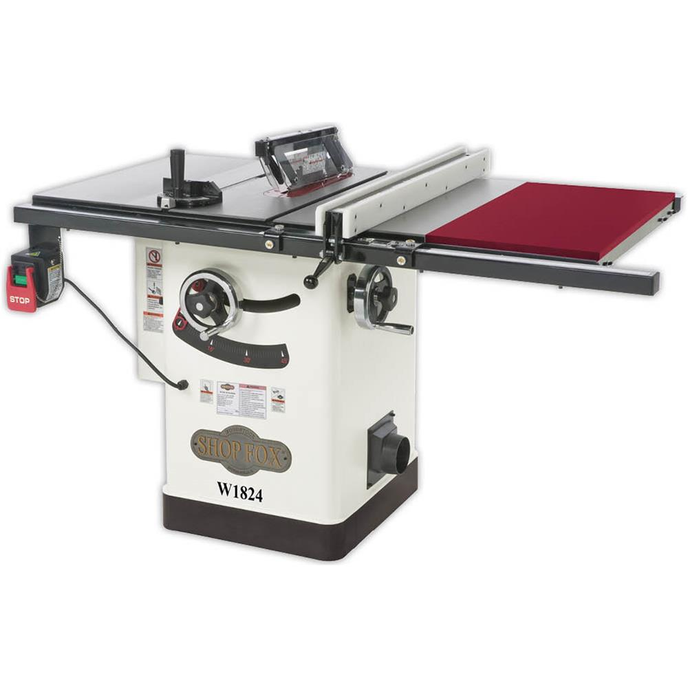 Shop Fox W1824 Cabinet Hybrid  Get the best of both contractor-style and cabinet-style table saws with this Shop Fox® Hybrid Table Saw. You get the economy and size of a high-end contractor saw, but with the dust control and enclosed stand of a cabinet saw. Just like our other table saws, this hybrid also has a quick-change blade guard with anti-kickback pawls that can be positioned away from the workpiece. The interchangeable riving knife offers kickback protection for non-through cutting operations that require you to remove the blade guard. Also features a Poly-V serpentine belt drive and pulley system. This saw is sure to be the envy in any shop or worksite. CSA certified meeting CSA-C22.2 #71.2-08 and UL 987-7 standards!   $1349.99