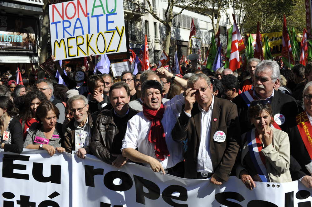 J.L Mélanchon and Front de Gauche against European Economic Treatee. © Thierry TELAMON