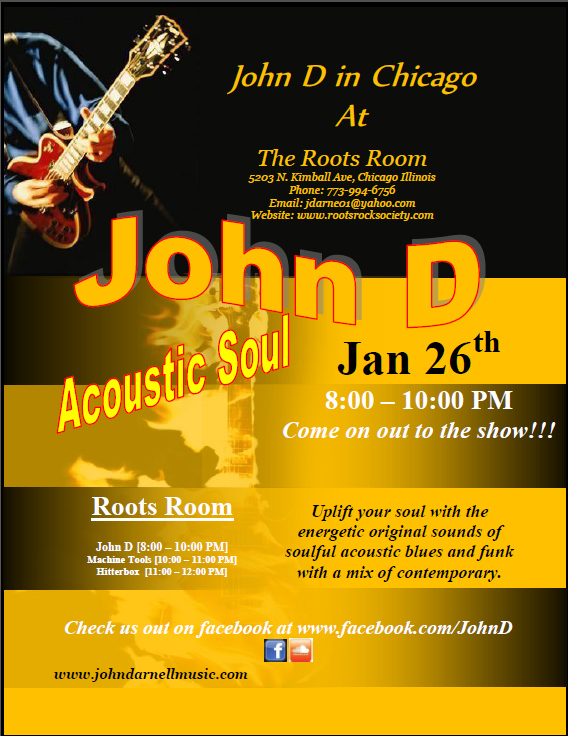 John D is playing at the Roots Room, International Artists.