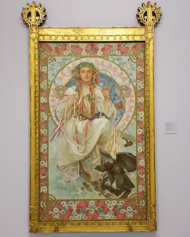 "Alfons Mucha. ""Portrait of Josephine Crane Bradley as Slavia"" - 1908 National Gallery, Fair Trade Palace. Prague. I love a bit of Mucha. Seeing all of the hand painted detail in this in the flesh makes me appreciate him more"