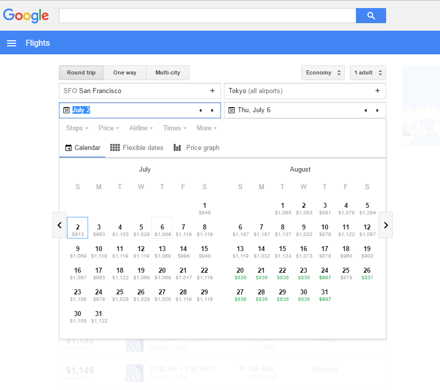 Google Flights Calendar pricing tool