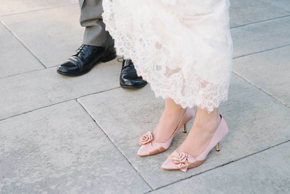 tanner-springs-park-ecotrust-building-pink-wedding-shoes-lace-dress-portland-oregon-shelley-marie-photo